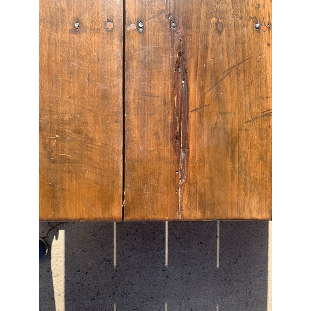 Rustic Barnwood Plank Top Dining Table For Sale - Image 9 of 13