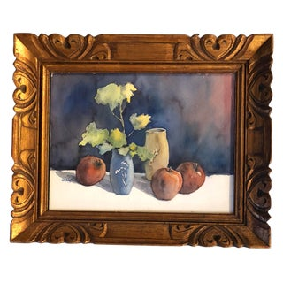 Original Mid Century Vintage Still Life Watercolor Carved Frame For Sale