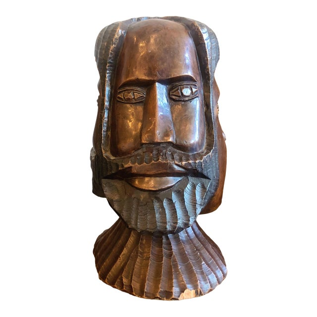Vintage Carved Wooden Head Sculpture For Sale