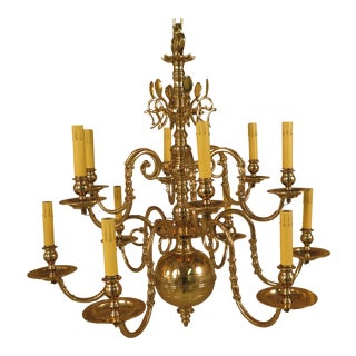 18th C. Style Lester Berry Brass Chandelier