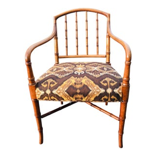 Vintage Regency Faux Bamboo Style Side Chair/Desk Chair. For Sale