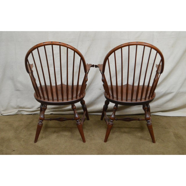 Brown Custom Quality Pair of Solid Cherry Windsor Armchairs For Sale - Image 8 of 13