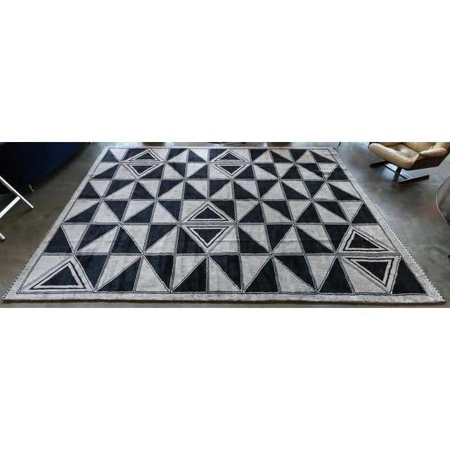 2010s Moroccan Geometric Triangles Wool Rug - 9′ × 12′ For Sale - Image 5 of 11