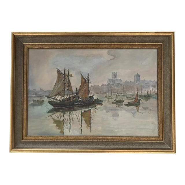 Mid-Century Sailboats in Harbor Framed Painting For Sale