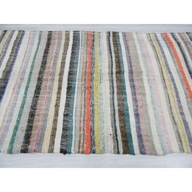 "Mid-Century Modern Vintage Striped Rag Rug - 5'3"" x 11'5"" For Sale - Image 3 of 6"