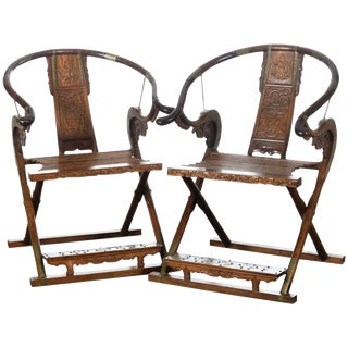 Chinese Carved Horseshoes Folding Chairs - a Pair For Sale