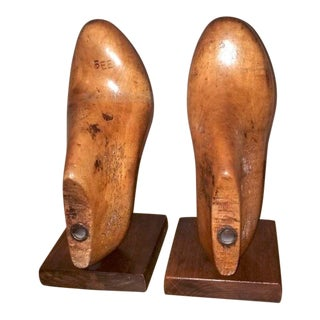 Antique Wood Shoe Mold Bookends - a Pair For Sale