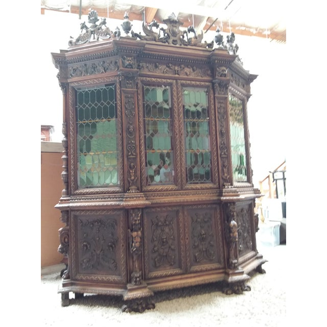 Green Ornate Renaissance Revival French Bookcase For Sale - Image 8 of 12