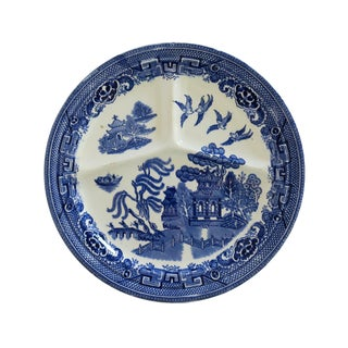 Vintage Blue Willow and White Ironstone Hotel Ware Divided Dinner Plate For Sale