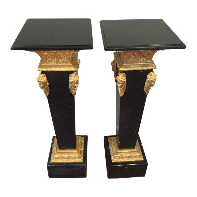 Ormolu-Mounted Black Marble Pedestals - Pair - Image 1 of 11