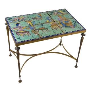 Vintage Spanish Mosaic Tile and Brass Coffee Table