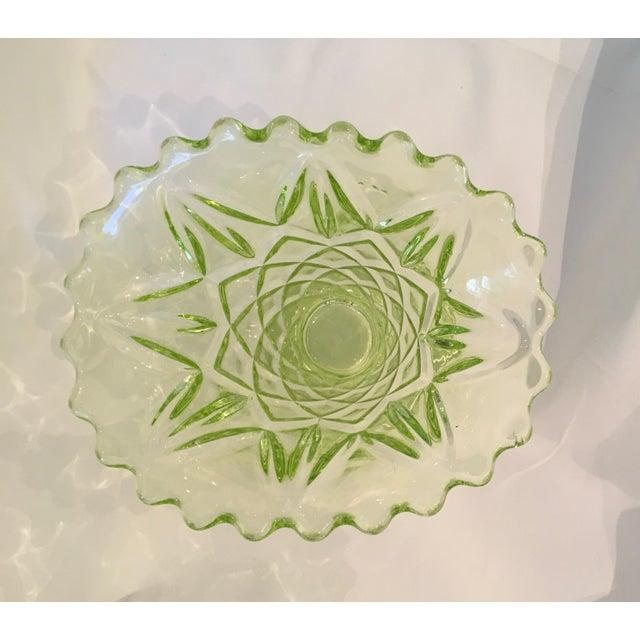 """Vintage 1930s Art Deco Uranium Green Glass """"Manchester Basket"""" Vase - Image 6 of 10"""