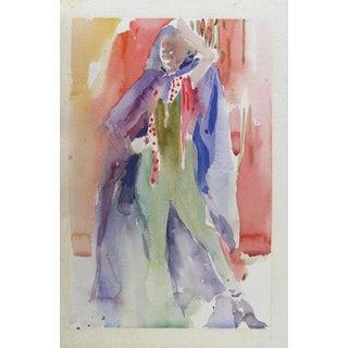 Colorful 1980s Fashion Watercolor For Sale