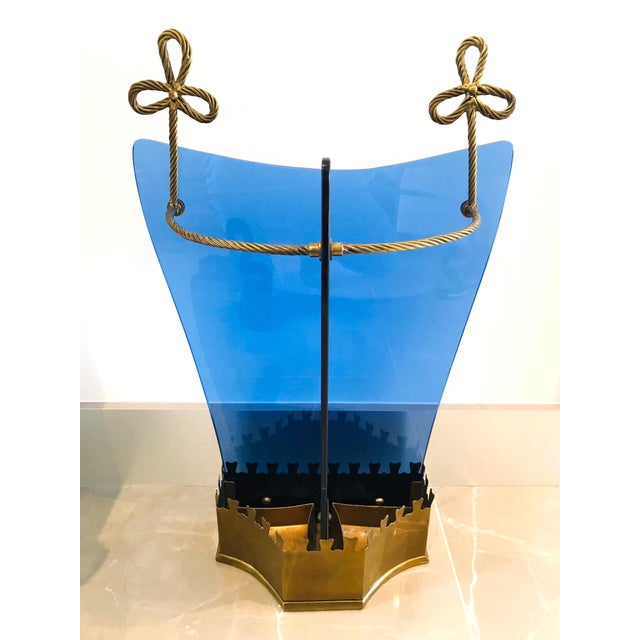 Italian Glass and Gilt Iron Umbrella Stand by Fontana Arte, 1950s For Sale - Image 13 of 13