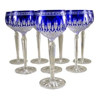 Vintage Waterford Cobalt Blue Clarendon Crystal Wine Goblets - Set of 8 For Sale