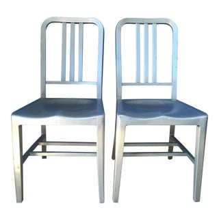 Aluminum Industrial Goodform Chairs- a Pair For Sale