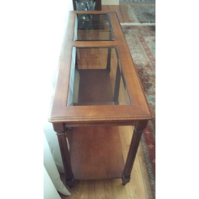 Vintage Solid Fruitwood and Beveled Glass Console Table - Image 4 of 11