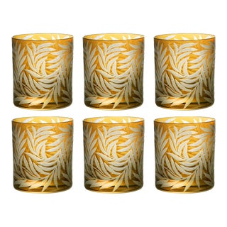 Willow Double Old Fashioined Glasses, Set of 6, Amber For Sale