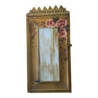 1940s Folk Art Medicine Cabinet with Slag Glass Door and Cornice For Sale