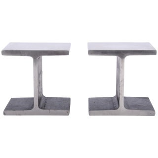 1970s Ward Bennett Style Steel I Beam Bookends - a Pair For Sale