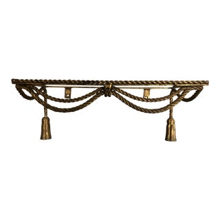 Hollywood Regency Drapery Gold Gilt Console For Sale