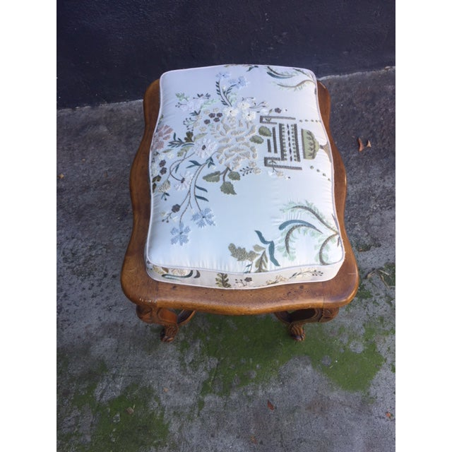 Brown Vintage Walnut French Provincial Bench With Embroidered Upholstery For Sale - Image 8 of 10
