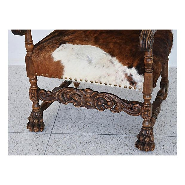 Antique Carved Oak & Cowhide Throne Armchair - Image 2 of 12