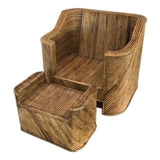 1970s Mid-Century Modern Split Reed Bamboo Club Chair and Ottoman - 2 Pieces For Sale