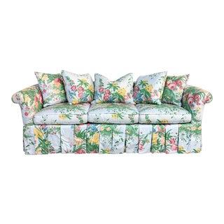 Dorothy Draper Style Hollwyood Regency Custom Blue Floral Skirted Sofa For Sale