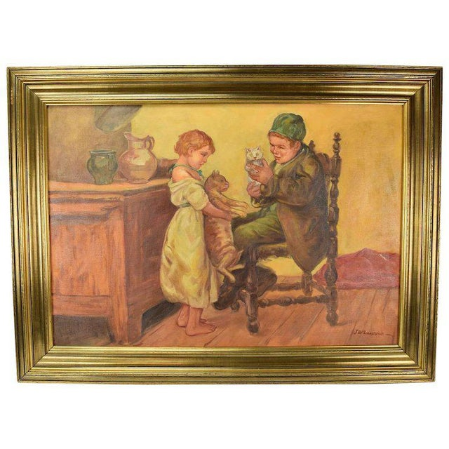 """1920's Large """"Brother Sister Playing W Cats"""" Oil Painting Signed Lawson For Sale In Chicago - Image 6 of 6"""