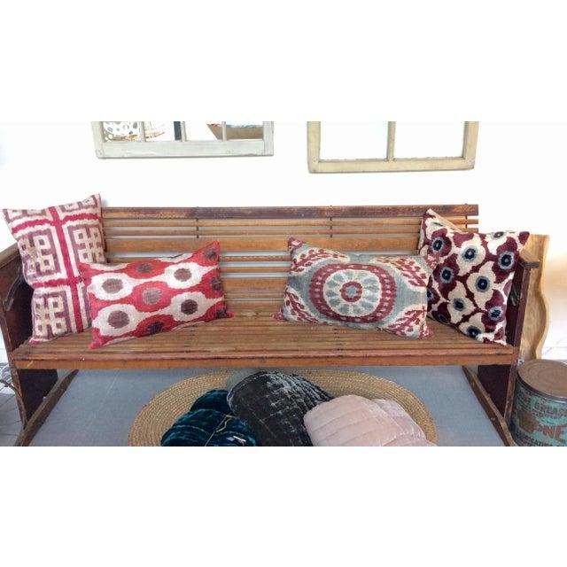 Maroon Silk Velvet Ikat Pillow - Image 4 of 4