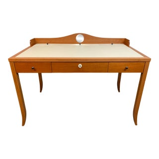 Mid 20th Century Ivory Leather + Cherry Desk Leather Top Desk For Sale