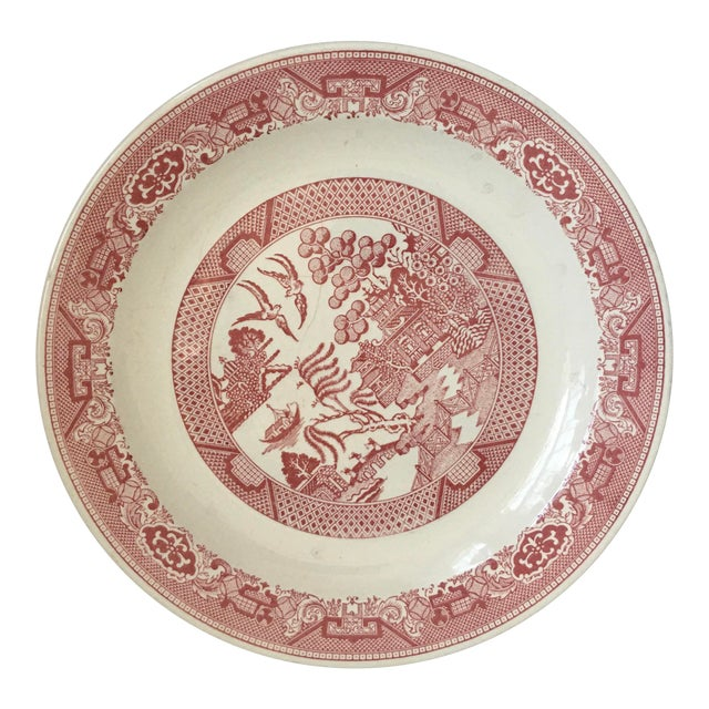 1970s Vintage Willow Ware Red & White Porcelain Plate For Sale