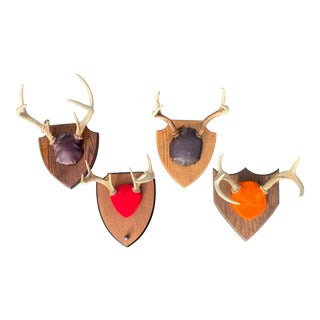 Mounted Deer Antlers - Set of 4 For Sale
