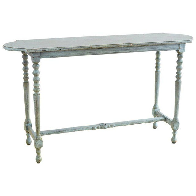 Robin's Egg Blue Painted Console Sofa Table For Sale - Image 13 of 13