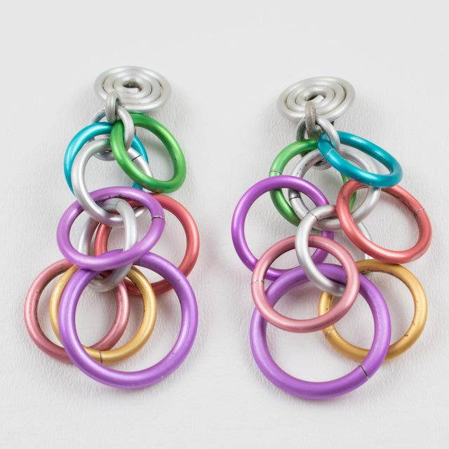 Contemporary David Spada Dangling Clip Earrings Space Age Pastel Anodized Aluminum For Sale - Image 3 of 8