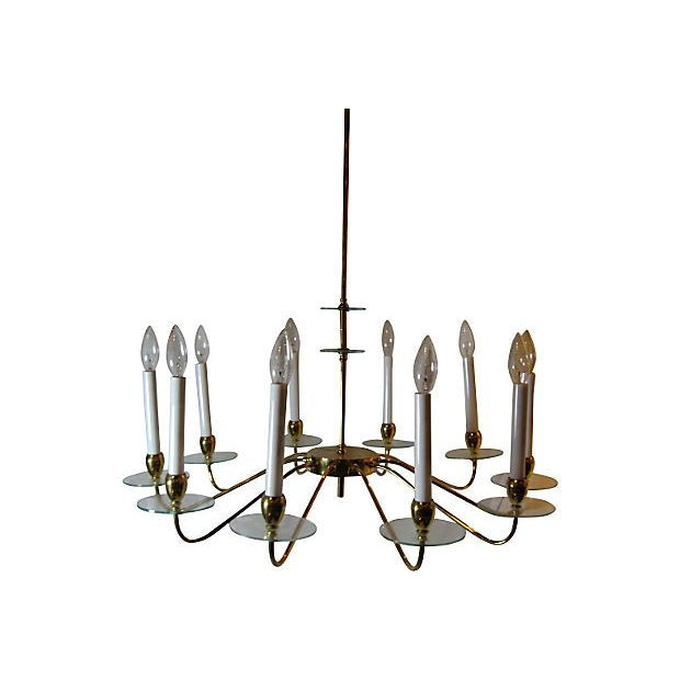 Brass & Glass 10 Light Chandelier For Sale