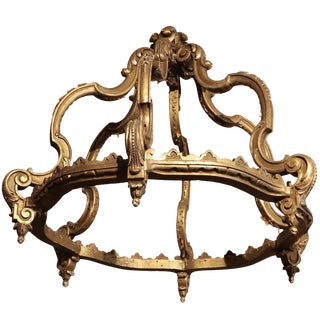 19th Century Italian Gilded Wood Bed Corona Crown For Sale