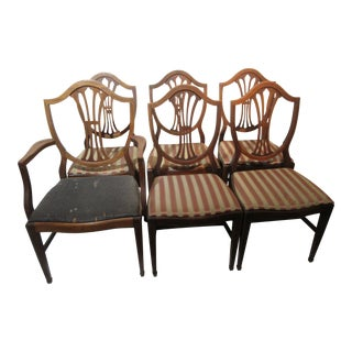 Hepplewhite Style Mahogany Inlaid Dining Chairs - Set of 6 For Sale