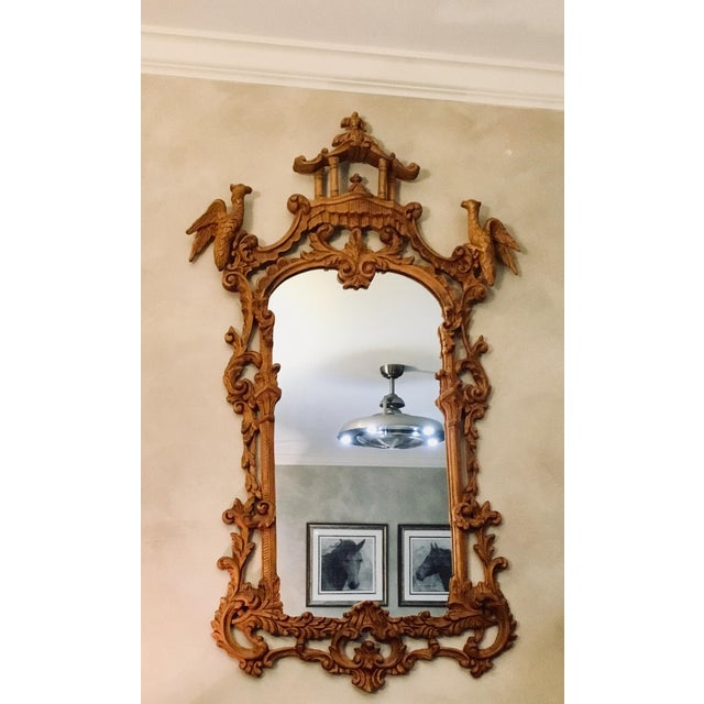 Glass Chinese Chippendale Style Pagoda Mirror With Hoho Birds For Sale - Image 7 of 9