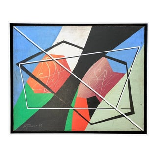 Vintage Italian Postmodern Geometric Abstract Oil Painting For Sale