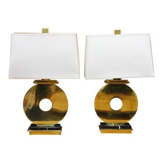 """Robbet Abbey Brass """"O"""" Table Lamps - a Pair For Sale"""