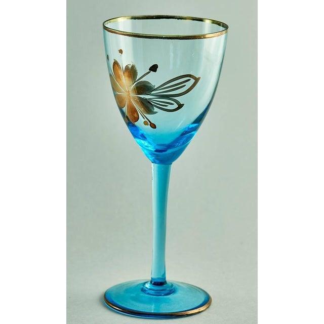 Sea Blue & Gold Leaf Decanter & Glassware Set - Image 4 of 10