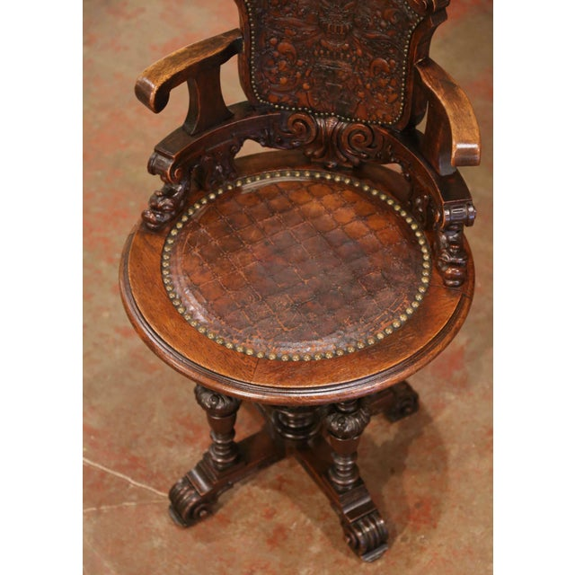 Brown 19th Century English Carved Oak and Embossed Leather Lady's Desk Armchair For Sale - Image 8 of 13