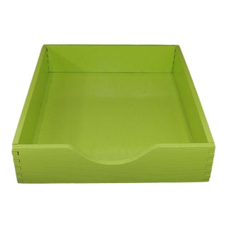 Contemporary Lime Green Wood Desktop File Box