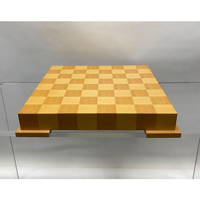 Gorgeous chess set by famed designer Michael Graves, c1990s. Very heavy, very well made. Box is checkerboard veneer in...