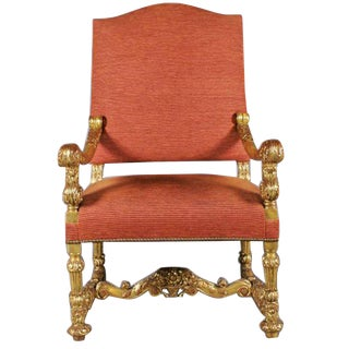 Monumental 19th Century Baroque Style Giltwood Armchair For Sale