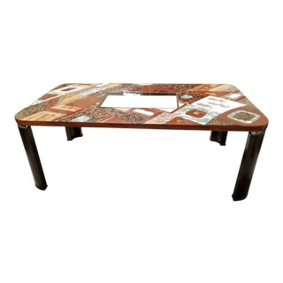 """Lifestyle"" Dining Table With Exotic Natural Inlay and Glass Insert, 1990s For Sale"