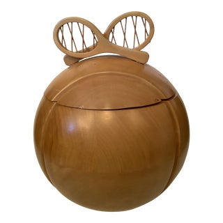 Italian Wood Tennis Ball Ice Bucket With Racket Handle For Sale