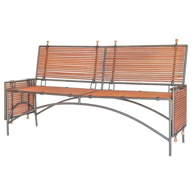 Iron Framed Reeded Knole Style Bench or Settee For Sale - Image 4 of 9